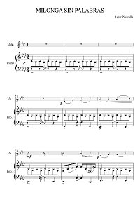 Piazzolla - Milonga Sin Palabras for violin - Piano part - First page